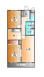 アクロス山口[2階]の間取り