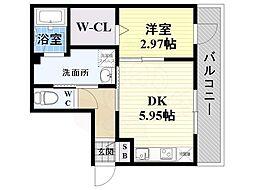 JR東海道・山陽本線 立花駅 徒歩4分の賃貸マンション 3階1DKの間取り