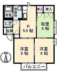 広島県福山市手城町3の賃貸アパートの間取り