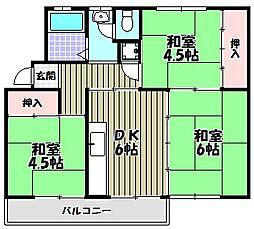 狭山住宅38棟[4階]の間取り