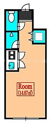 JR中央本線 国分寺駅 徒歩12分の賃貸アパート 1階ワンルームの間取り