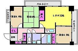 JR東海道・山陽本線 六甲道駅 徒歩10分の賃貸マンション 4階3LDKの間取り