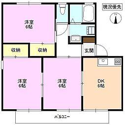 長野県長野市稲田 1丁目の賃貸アパートの間取り