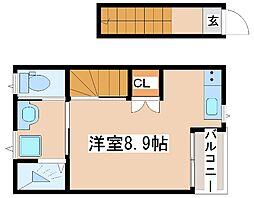 JR山陽本線 西明石駅 徒歩12分の賃貸アパート 2階ワンルームの間取り