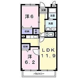 ハミングホーム五香西[203号室]の間取り