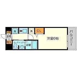 エステムコート新大阪11リンクス 6階1Kの間取り