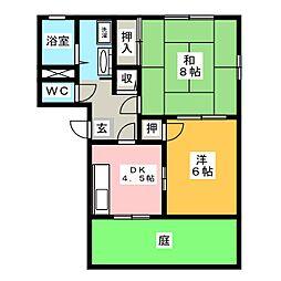 サンライズ花園 A棟[1階]の間取り