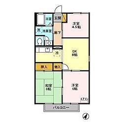 千葉県袖ケ浦市福王台3丁目の賃貸アパートの間取り