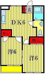 ルリコーポ松戸[2階]の間取り