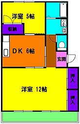 静岡県浜松市中区領家1丁目の賃貸マンションの間取り