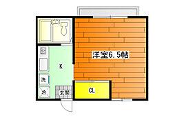 暁21・0号館 (ユニットバス)[1階]の間取り