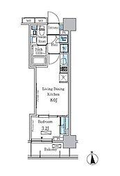 東急東横線 学芸大学駅 徒歩11分の賃貸マンション 4階1LDKの間取り