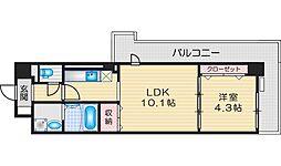 サンプラザ茨木 4階1LDKの間取り