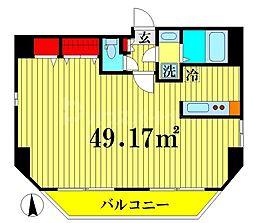 OFFIN 4階1Kの間取り