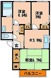 アイクスコートC・D[2階]の間取り