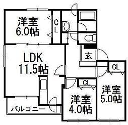 センティード北郷[3階]の間取り