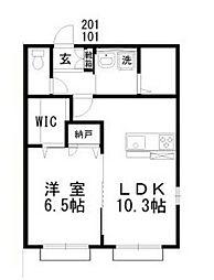 JR宇野線 備前西市駅 徒歩20分の賃貸アパート 1階1LDKの間取り