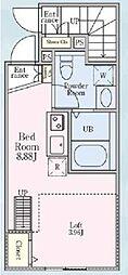 京王線 初台駅 徒歩9分の賃貸アパート 1階ワンルームの間取り