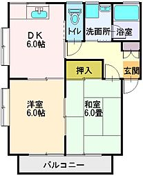 埼玉県ふじみ野市松山2丁目の賃貸アパートの間取り