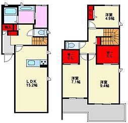 福岡県福岡市中央区平和3丁目の賃貸アパートの間取り