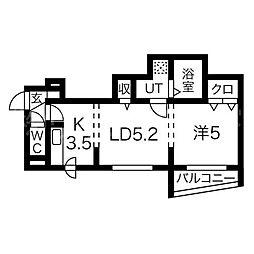 北海道札幌市東区北十三条東6丁目の賃貸マンションの間取り