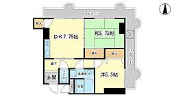 シャンソンマンション[2階]の間取り