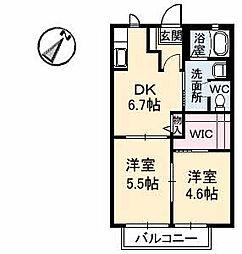 シャンティアオギ2 E棟[E201号室]の間取り