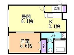 アベニール3・2 4階1LDKの間取り