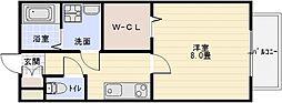 ドリーム葉月 六番館 2階1Kの間取り