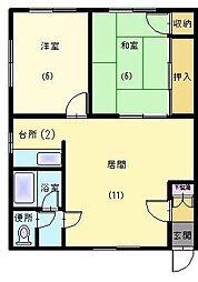 今アパート[L号室]の間取り