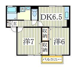 クレストD[2階]の間取り