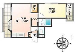 サンライズ伊伝居[4階]の間取り