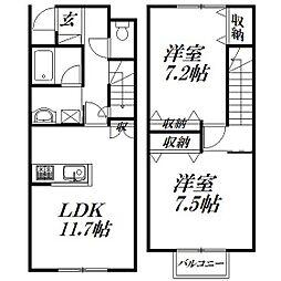 [テラスハウス] 静岡県浜松市北区新都田5丁目 の賃貸【/】の間取り