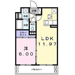 JR片町線(学研都市線) 鴻池新田駅 徒歩17分の賃貸アパート 2階1LDKの間取り