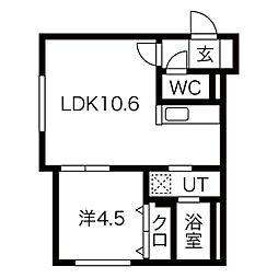 札幌市営東西線 発寒南駅 徒歩5分の賃貸マンション 4階1LDKの間取り