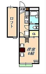 レオパレスクレール福田[2階]の間取り