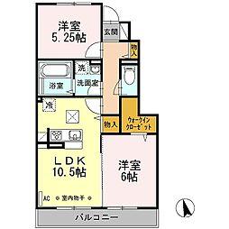 D-roomグランドソレーユ[102号室]の間取り