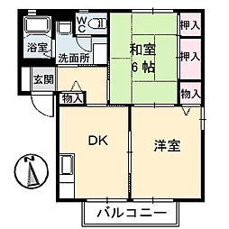 広島県福山市日吉台2丁目の賃貸アパートの間取り