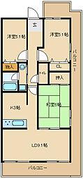 プランテーム吉田[7階]の間取り