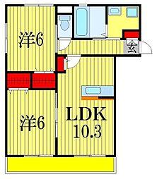 千葉県船橋市中野木2丁目の賃貸アパートの間取り