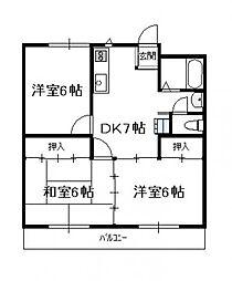 蓮ケ池ハイム(3DK)[203号号室]の間取り