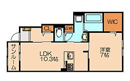 JR香椎線 宇美駅 徒歩8分の賃貸アパート 1階1LDKの間取り