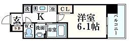 エステムコート三宮EASTIVザ・フロント 14階1Kの間取り