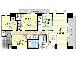 阪急千里線 山田駅 徒歩4分の賃貸マンション 2階4LDKの間取り