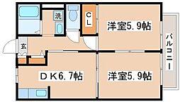 ボン・セジュール歌敷B棟[1階]の間取り