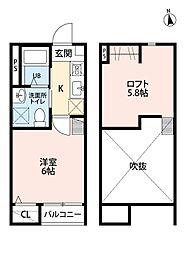 仙台市地下鉄東西線 連坊駅 徒歩8分の賃貸アパート 2階1Kの間取り