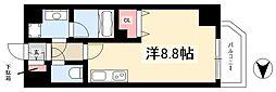 レジデンシア大須 5階ワンルームの間取り