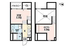 愛知県名古屋市南区源兵衛町4丁目の賃貸アパートの間取り