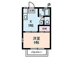 ツインズB棟[2階]の間取り