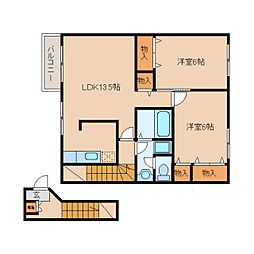 奈良県御所市三室の賃貸アパートの間取り